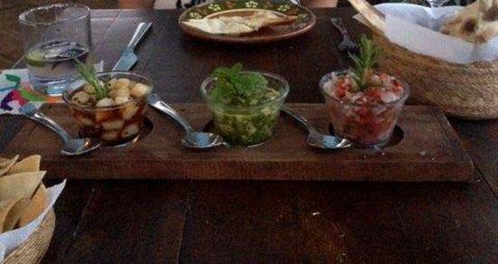 Organic Restaurant at Huerta Los Tamarindos: A trio of scallop sushi prepared three ways
