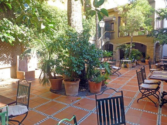 Hotel Nou Roma: Jardín interior