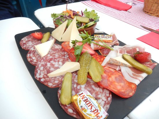 Paris Urban Adventures: 1 of the 2 charcuterie plates for 10 people :(