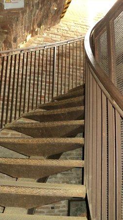 Torre dei Lamberti : Ступеньки, ведущие от лифта на смотровую площадку башни Ламберти