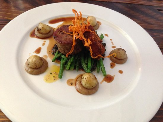 The Atelier Restaurant: Lamb Shoulder, crispy flank, confit shallots puree, green beans, olive tapenade, Parisian potato