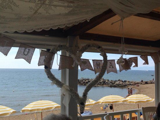 Lido Azzurro: View out to the sea with our wedding bunting still up from the night before...