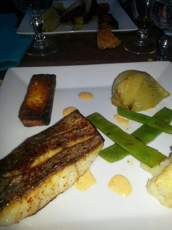 Plaisirs gourmands : Filet de maigre sauce emulsionnee au chorizo