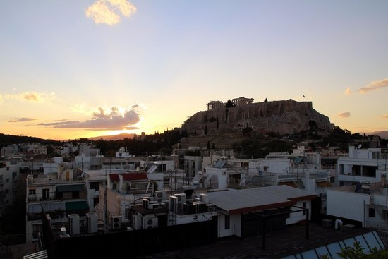 The Athens Gate Hotel: May sunset from the hotel's rooftop restaurant.