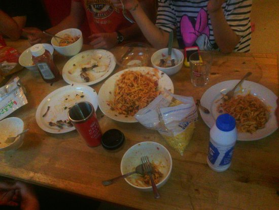Bristol Backpackers Tourist Hostel : dinner with other backpackers I met at BBP