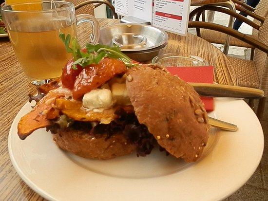 Cafe Tisfris: Roasted pumpkin, feta & sundried tommato sandwich - brown bread option!!!