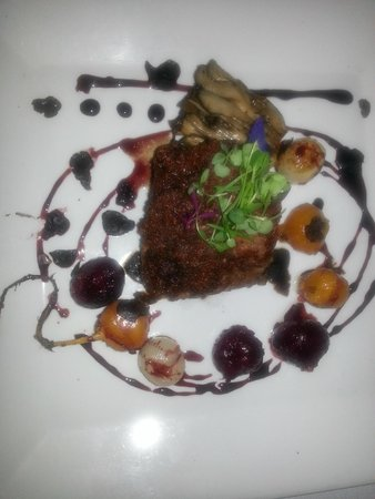 DISH - Creative Cuisine: Main course of organic beef tenderloin, baby beets, roasted pearl onions and mushroom