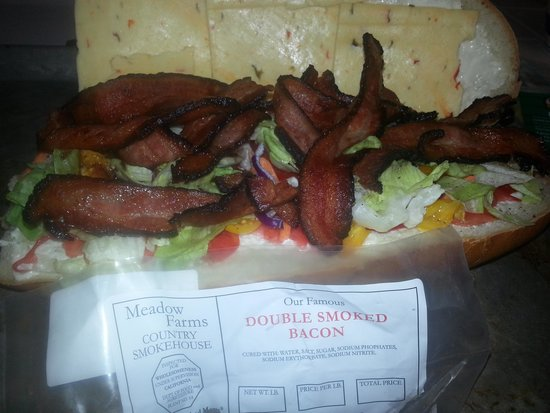 Mahogany Smoked Meats: Try the double smoked bacon. we made this blt!