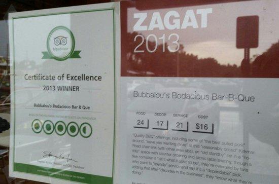 Bubbalou's Bodacious Bar-B-Que: Well-deserved awards.