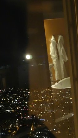 Shangri-La Hotel, At The Shard, London: View from room, at night, and round to bathroom.