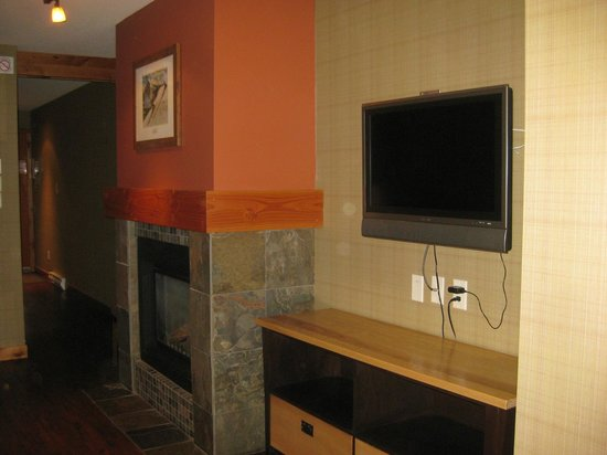 Fox Hotel & Suites : Fireplace, TV, etc.