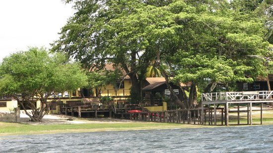 View of Crooked Tree Lodge from lagoon