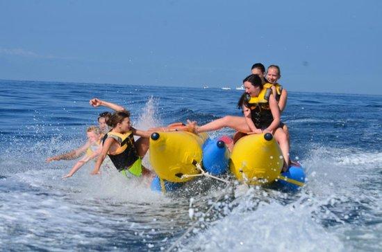 Mobile Sports: Half the crew over board! SPLASH!