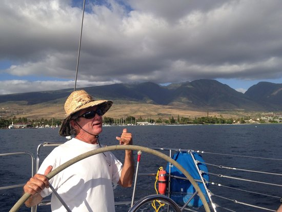 Scotch Mist Sailing Charters: Captain Turk on the high sea!