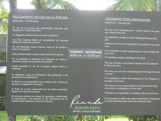 Riande Aeropuerto: reglamento de la piscina