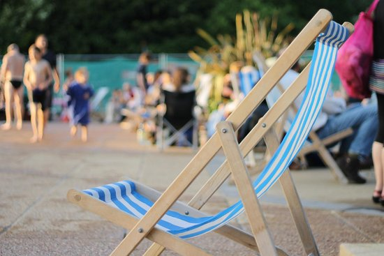 Guildford Lido - Outdoor Pools: You can borrow blue and white striped deck chairs!