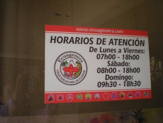 Ecuagenera - Orchids from Ecuador: Hours