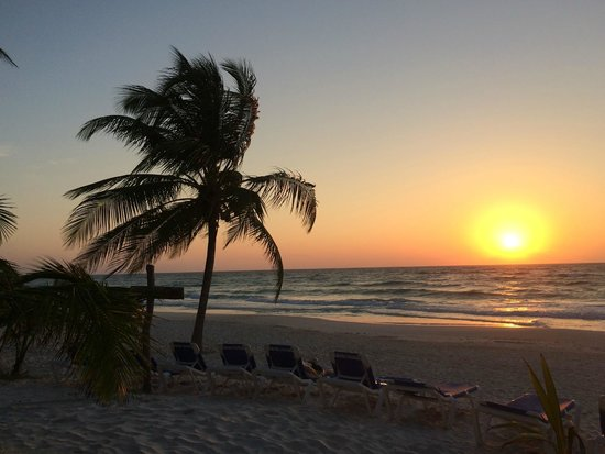 Your morning sunrise on the beach in front of Cabanas Tulum