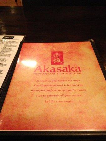 Akasaka Hibachi and Sushi Bar : menu