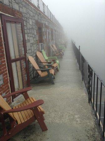 Skyline Village Inn: The balcony on a foggy April day