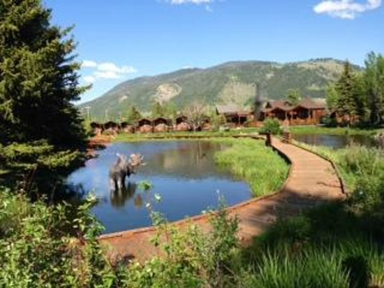 Rustic Inn Creekside Resort and Spa at Jackson Hole: view of stream and cabins from bridge