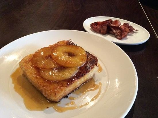 Pomegranate: french toast with coconut and caramelised pineapple