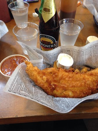 Mac's Fish & Chips Shop : The 8oz fish and chips, with Heinz beans