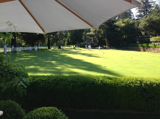 Meadowood Napa Valley: View of the croquet lawn from our private patio