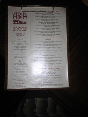 Appia : The standard menu