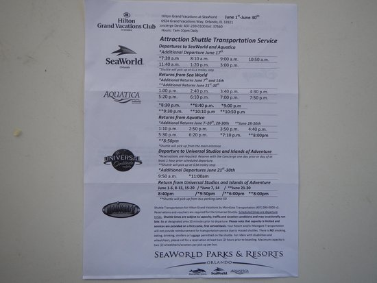 Hilton Grand Vacations at SeaWorld: Shuttle schedule