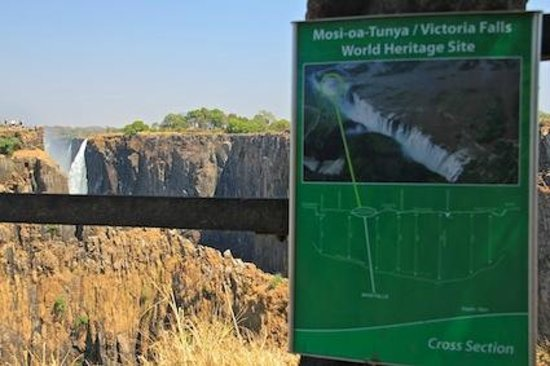 Mosi-oa-Tunya / Victoria Falls National Park : The minimal water-flow compared to the sign.