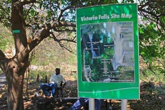 Mosi-oa-Tunya / Victoria Falls National Park : The Vicfalls set map sign in the park,