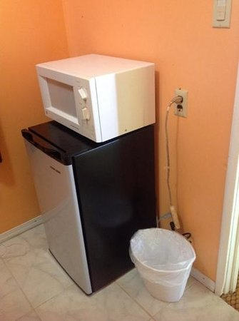9 Palms Inn: microwave and fridge in the kitchenette