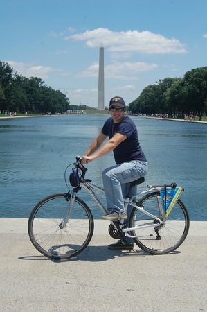 Bike and Roll DC: Son at reflecting pool.