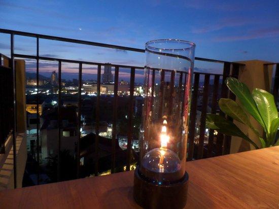 The Senses Resort: Dinner on the deck of the Eat More Restaurant at sunset.