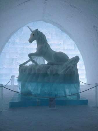 Icehotel: Unicorn on display in Ice Hotel hallway