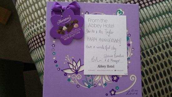 The Abbey Hotel: Lovely touch! Thank you
