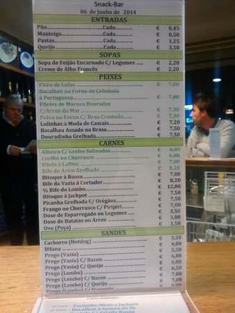 Jackpot : Cafe bar menu