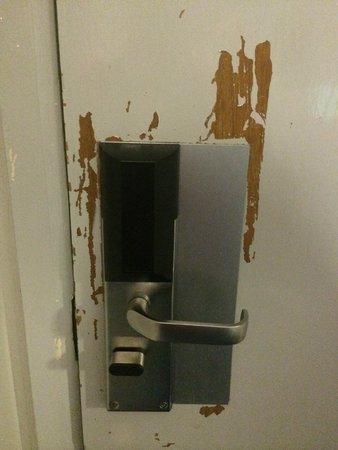 Britannia Edinburgh Hotel : hotel room door on the inside