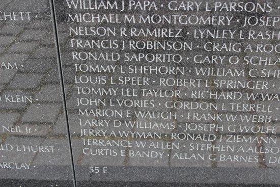 Panel 55E, Vietnam Veterans Memorial, April 2014