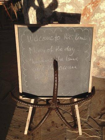 Ras Bamba Eco Lodge : Speisekarte