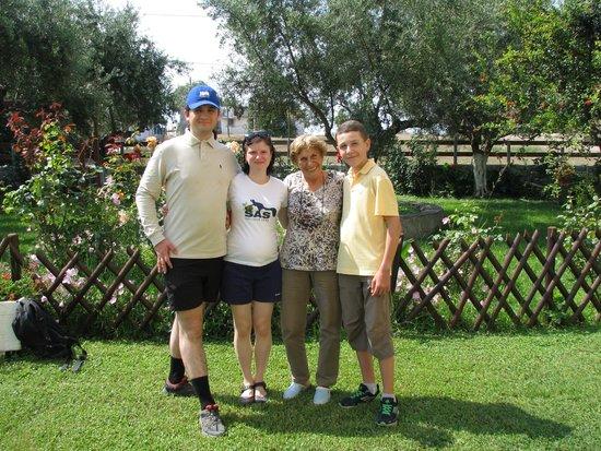 Villa Drossia: Near reception with owner Mrs Voula