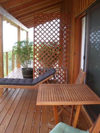 Myra Canyon Ranch: Woodpecker room deck