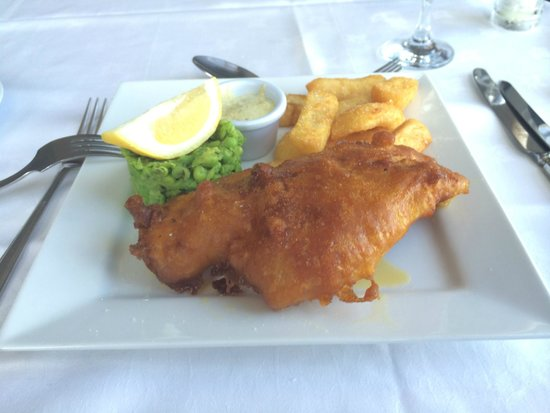 Miller's at the Anchor Restaurant: Cod, chips and minted crushed peas