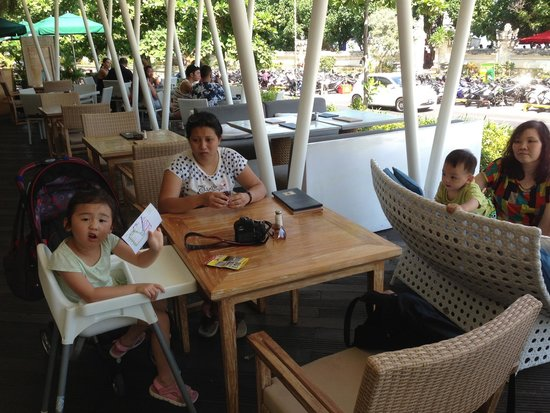 Beachwalk Shopping Center: At one of the restaurants waiting for the family member who went to beach.