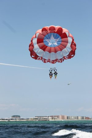 Just Chute Me Parasail : Wife and son having a blast!
