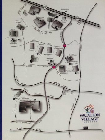 Vacation Village at Bonaventure: layout of the Vacation Village area. Includes Bonaventure, Weston, and Mizner Place.