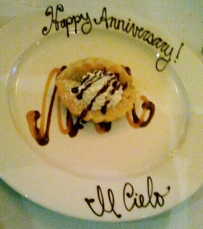 Il Cielo : The chocolate almond tart decorated for our anniversary.