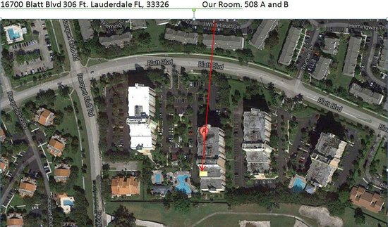 Vacation Village at Bonaventure: Google map of Heron II and our room placement