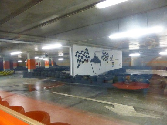 Hot Wheels Raceway: The track from the viewing area / cafe. Underground on the same level as the car park.
